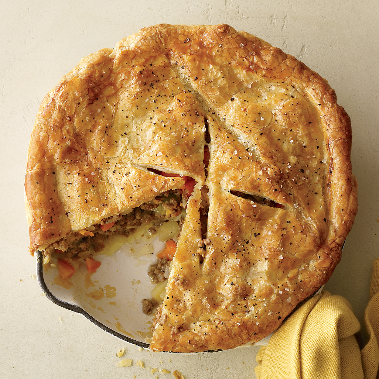 beef cheddar and potato pie