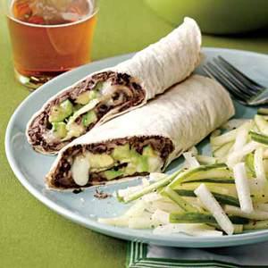 Black Bean and Avocado Burritos with Jicama-Cucumber Slaw