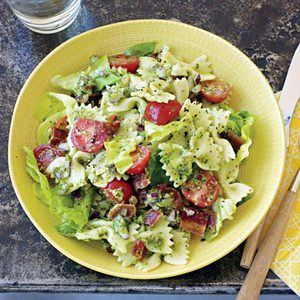 Bowties with Smoked Almond Sauce, Bacon, Lettuce and Tomatoes