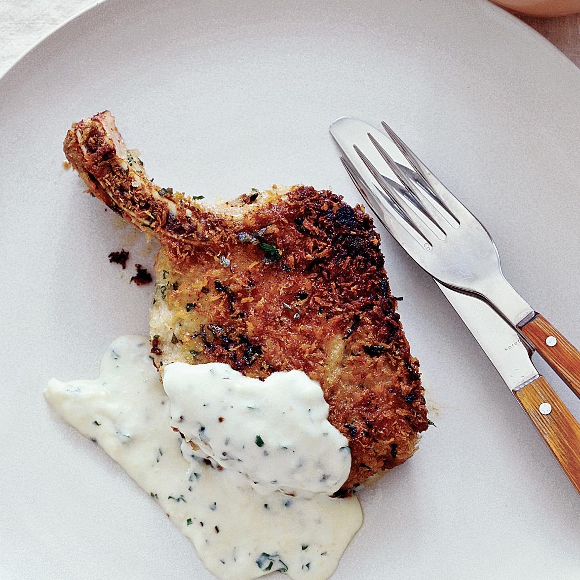 Breaded Pork Chops with Sage Cream Gravy