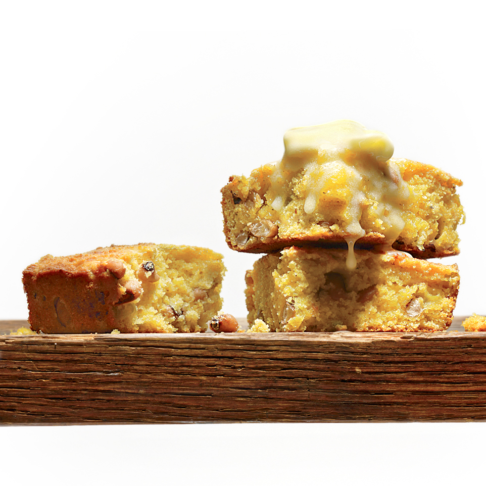 buttermilk cornbread with black-eyed peas