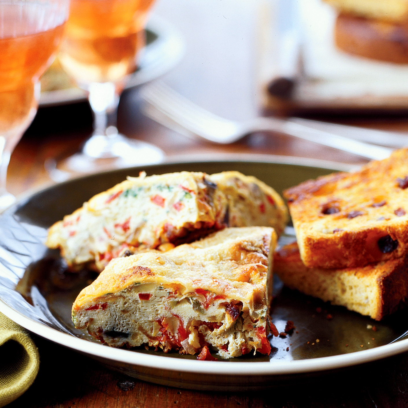 Caponata Frittata with Grilled Panettone