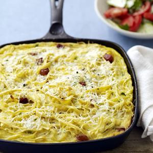 Carbonara Pasta Frittata with Tomato-Cucumber Salad