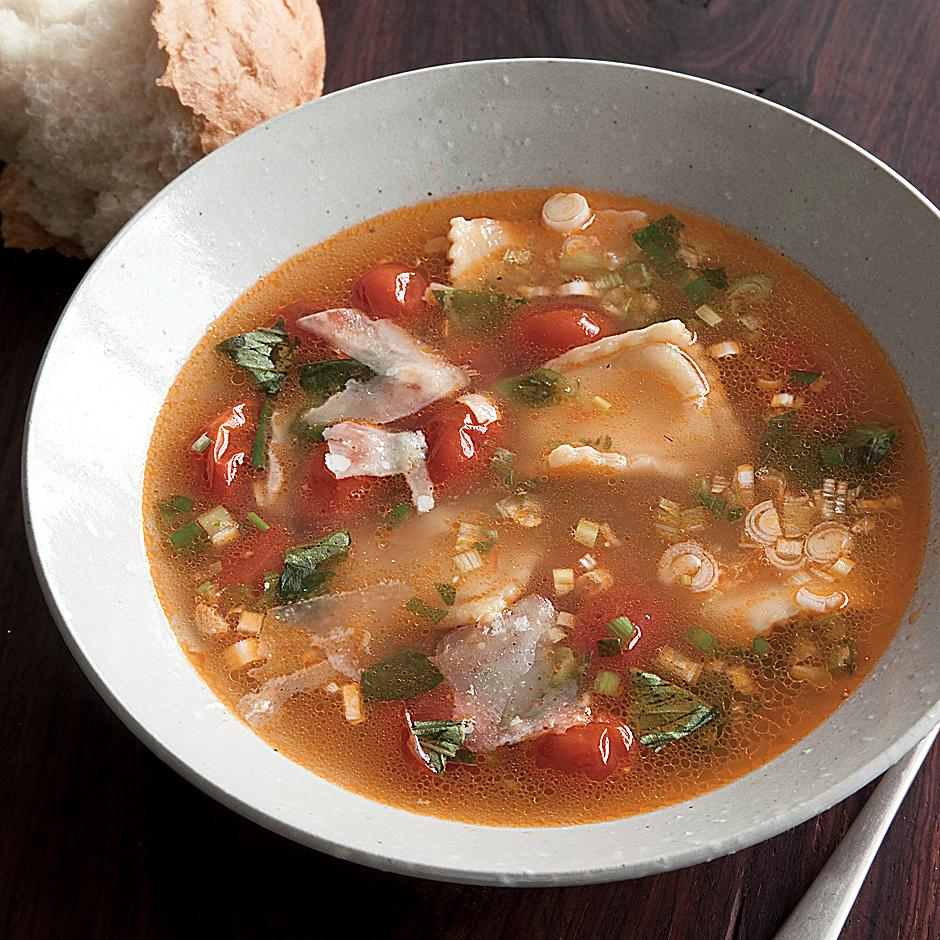 Cherry Tomato-and-Ravioli Soup