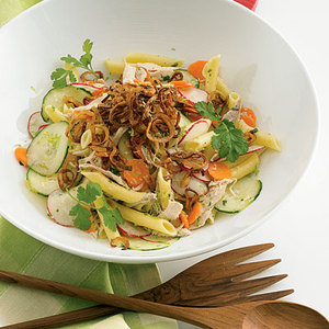 Chicken Pasta Salad with Fried Shallots