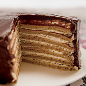 Chocolate-Covered 7-Layer Gingersnap Pan Cake with Espresso Cream