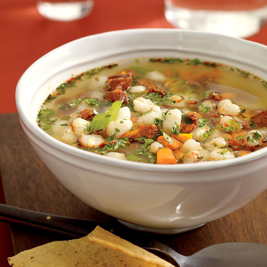 Chorizo-and-Hominy Soup