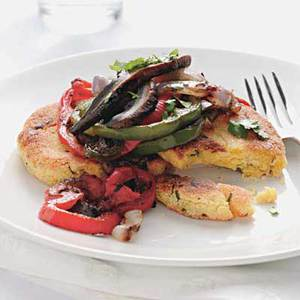Corn Cakes with Peppers and Onions