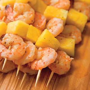 Corona-Steamed Shrimp Kebabs