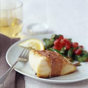 Crispy Prosciutto-Wrapped Cod and Asparagus Salad