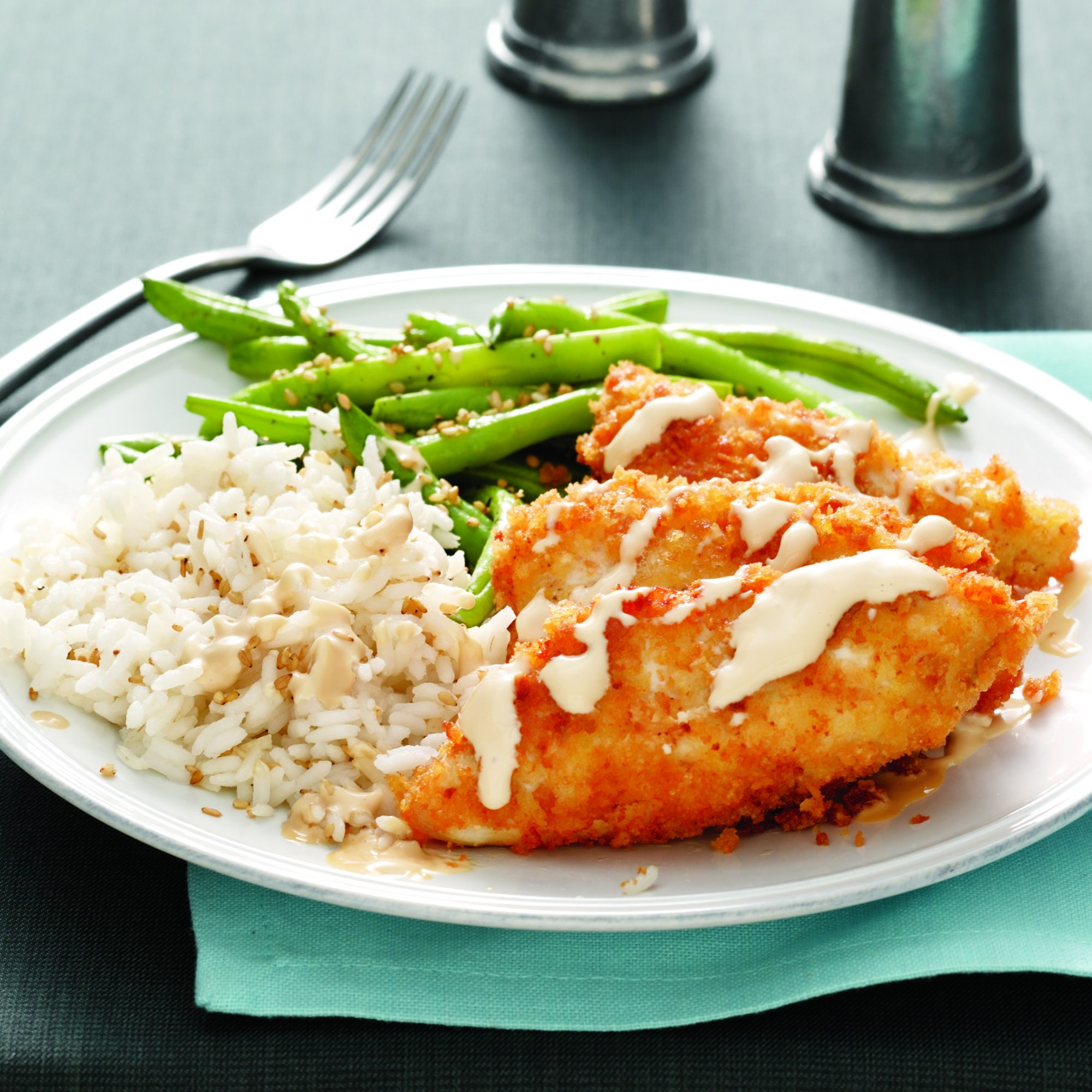 Crunchy Chicken with Sesame Rice and Green Beans