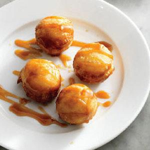 Doughnut Holes with Almond Caramel Sauce