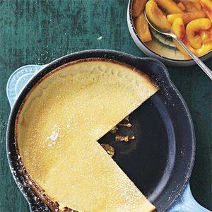 Dutch Baby Pancake with Sauteed Peaches