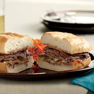 French Onion Dip Steak Sandwiches with Carrot-Broccoli Slaw