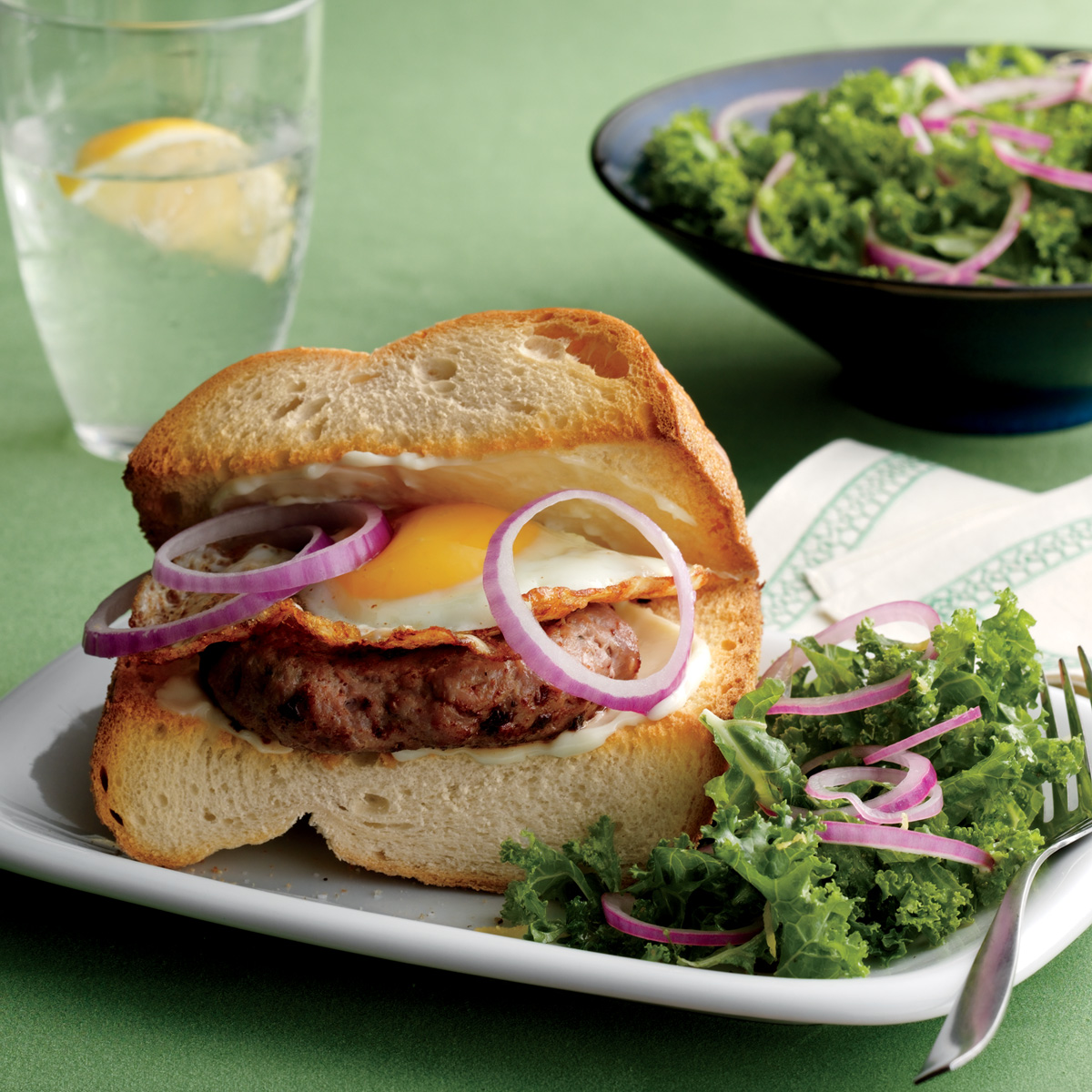 Fried-Egg-Topped Turkey Burgers with Kale Salad