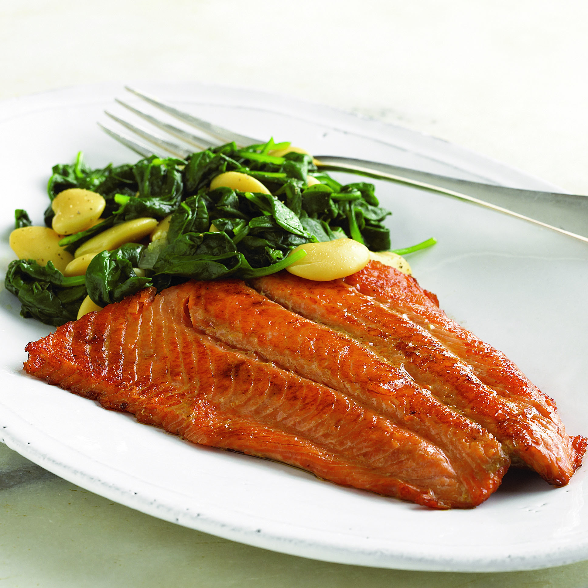 Ginger Salmon with Garlicky Butter Beans and Spinach