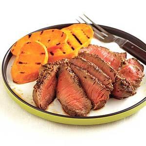 Grainy Mustard Steaks with Sweet Potatoes