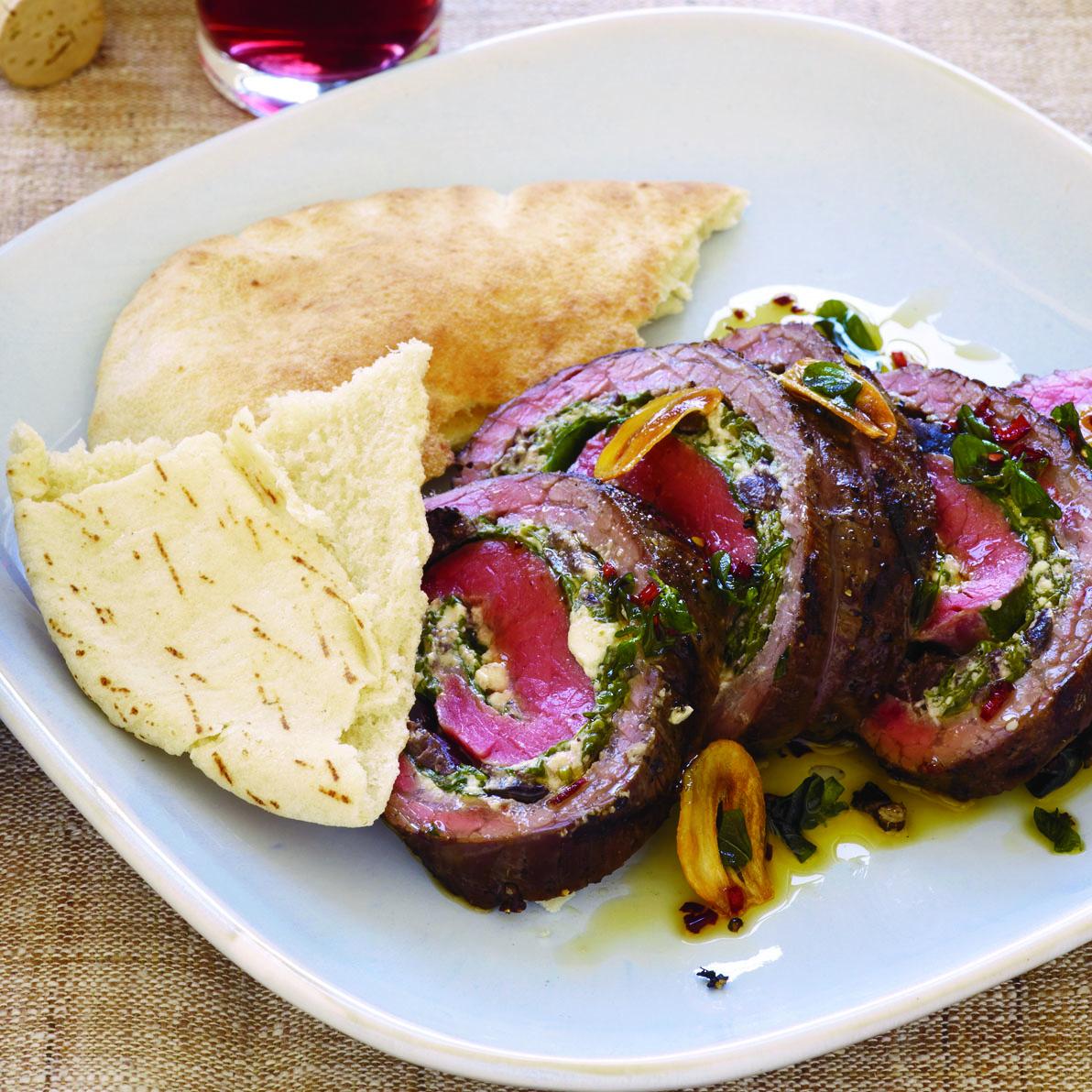 Greek-Style Flank Steak Wheels