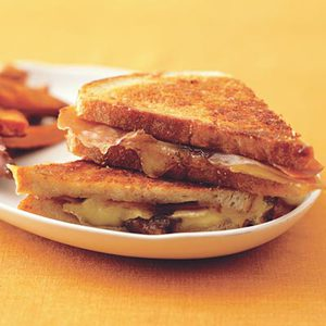 Grilled Brie and Fig Sandwiches with Sweet Potato Fries