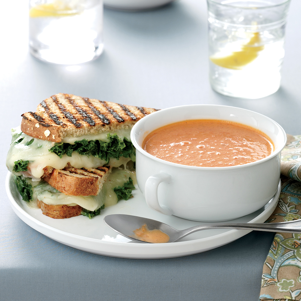 grilled cheese-and-kale sandwiches with tomato soup