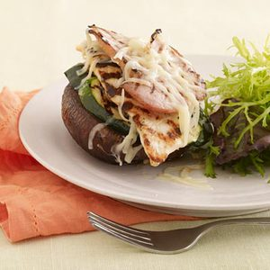 Grilled Chicken Cordon Bleu Portobello Stacks