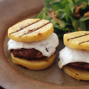 Grilled Mushroom Burgers on Polenta Buns
