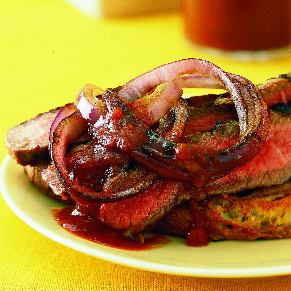 Grilled Rib-Eye Steaks with Cola Steak Sauce