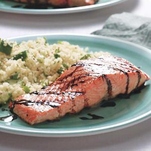 Grilled Salmon with Balsamic Drizzle and Green Couscous