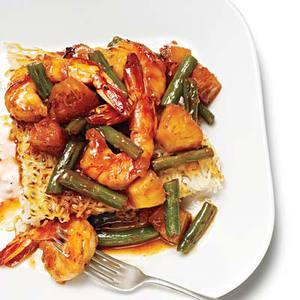 Hoisin-Glazed Shrimp over Crispy Noodle Cake