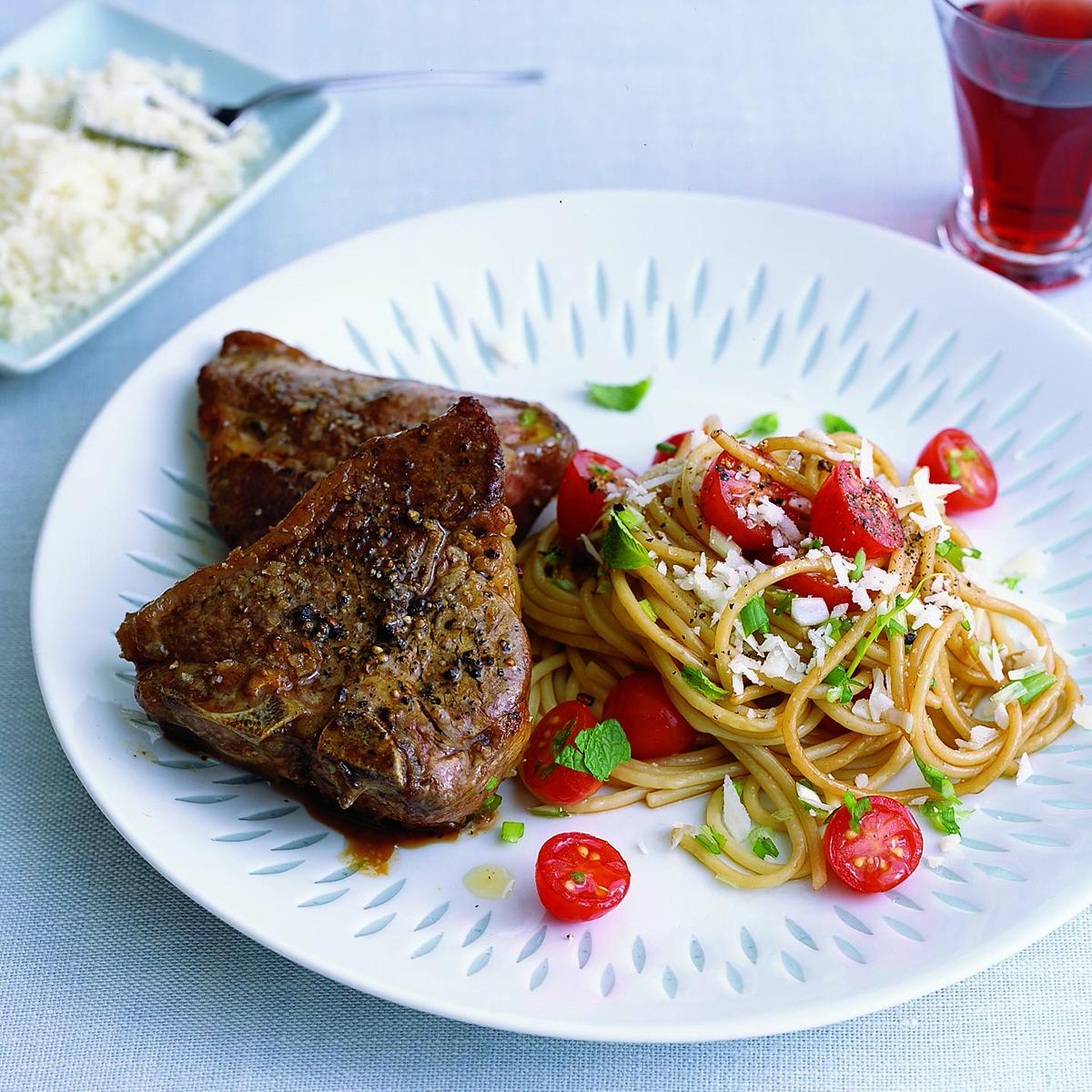 Lamb Chops and Spaghetti Salad with Raw Cherry Tomato Sauce