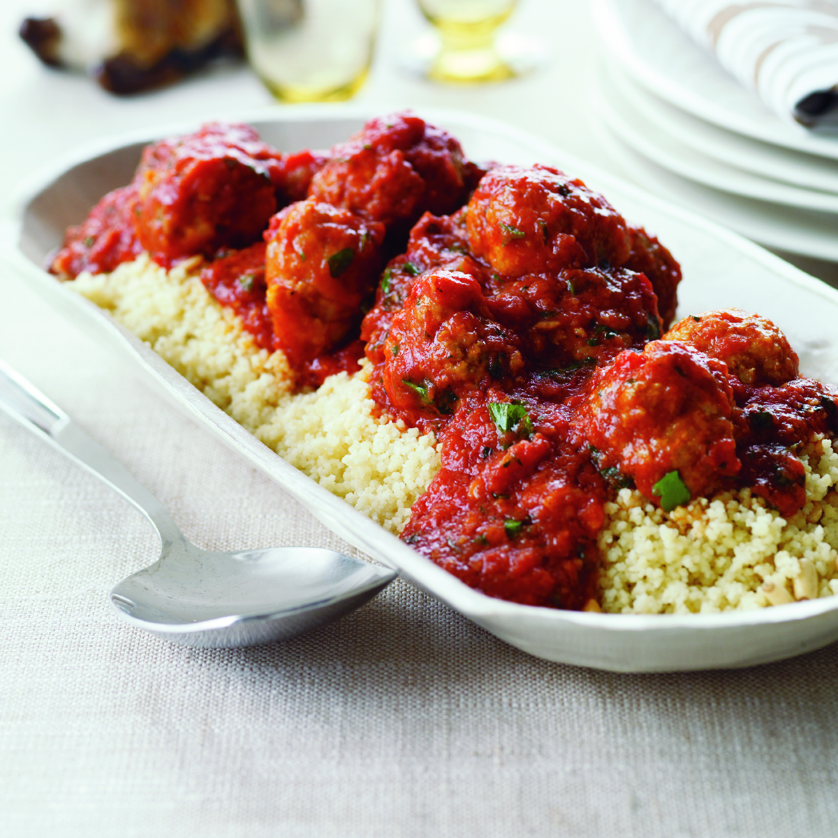 Lamb Meatballs in Tomato-Mint Sauce with Couscous