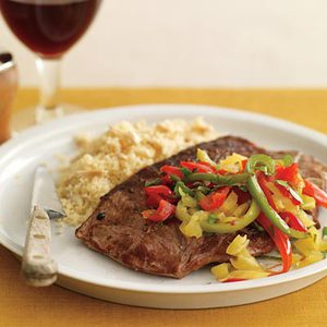 Lamb Steaks with Four Peppers and Nutty Couscous