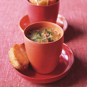 Leek Soup with Toasted Swiss Croutons