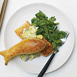 Leeky Salmon with Puff Pastry Toppers