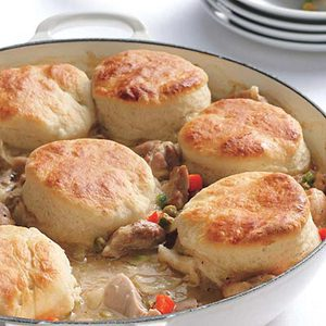Lemon Chicken Fricassee with Biscuit Topping