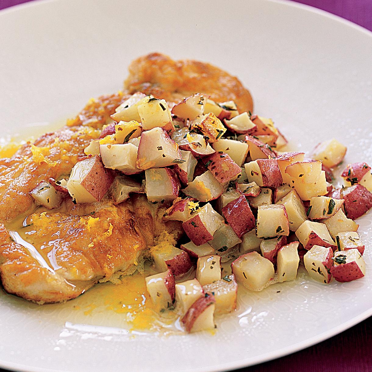Lemon-Chicken Schnitzel with Roasted Potatoes