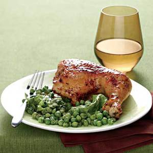 Lemon-Garlic Chicken with Hot Buttered Peas 'n' Lettuce