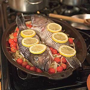 Lemon-Roasted Sea Bass with Clams