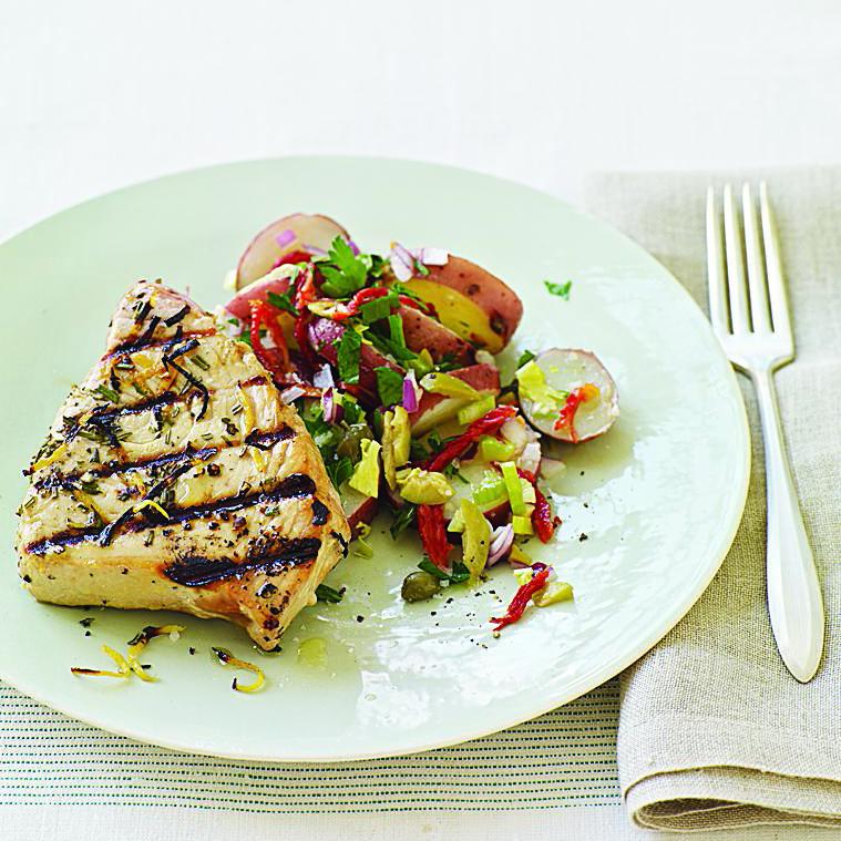Mediterranean Grilled Tuna Steaks and Sicilian-Style Potato Salad