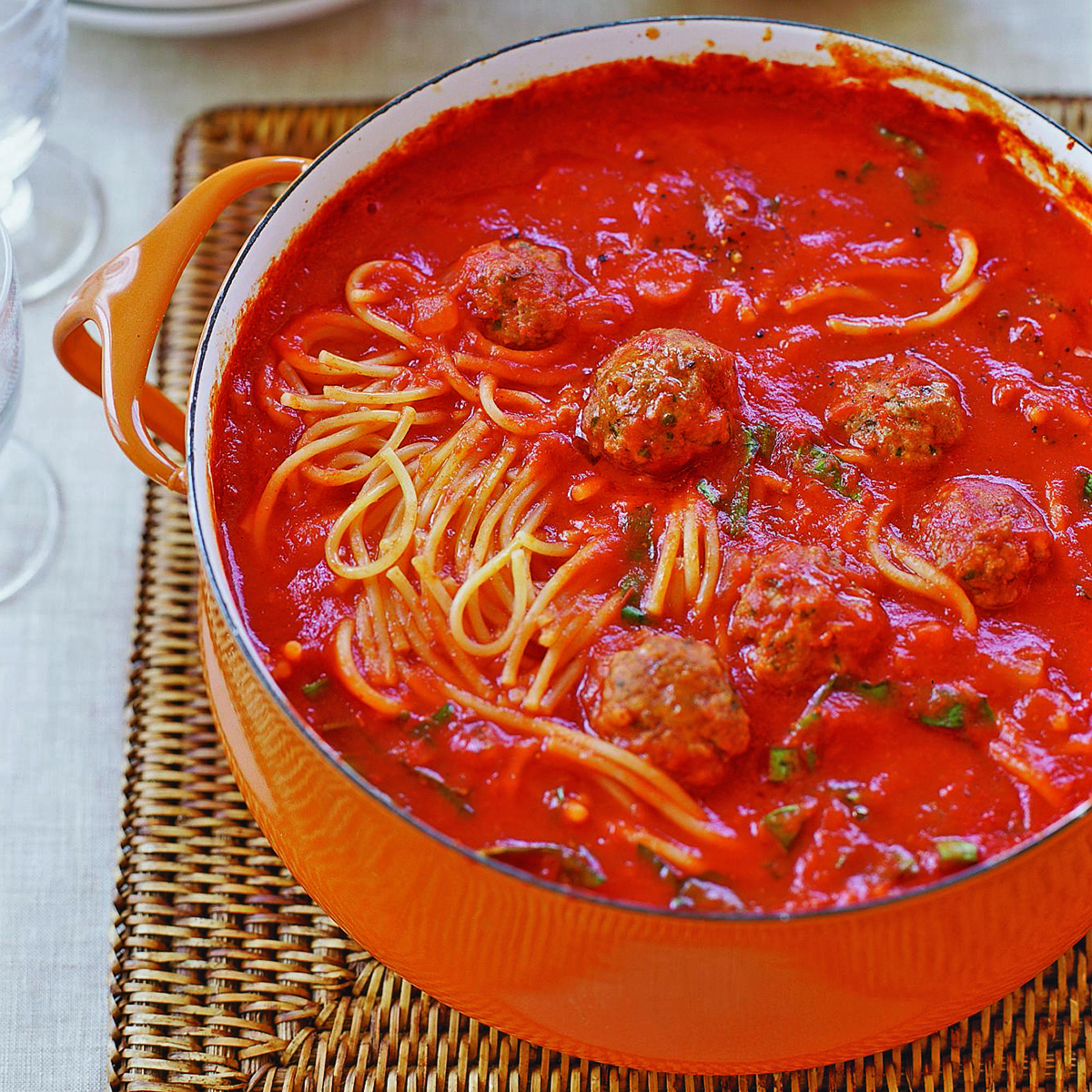 Mini Meatball and Broken Spaghetti Tomato Stoup