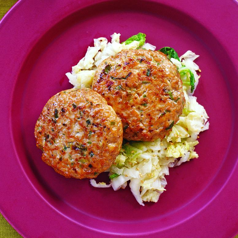 Mu Shu Chicken Patties with Seared Napa Cabbage