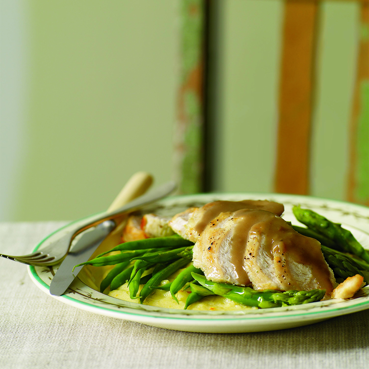 orange balsamic chicken with asparagus, green beans, and polenta