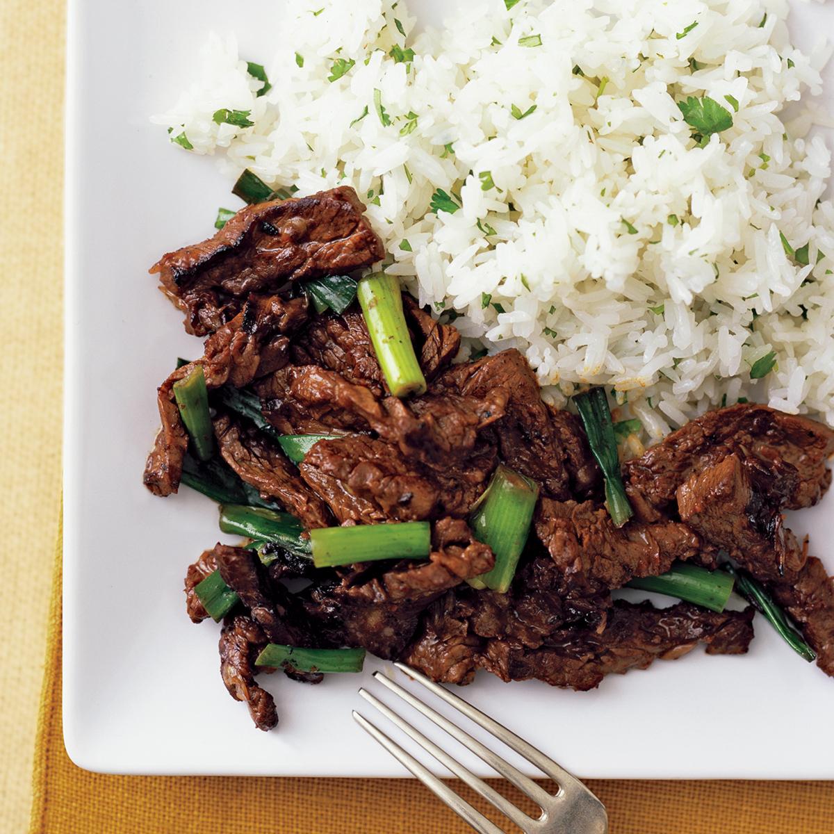 Orange Beef with Cilantro Rice