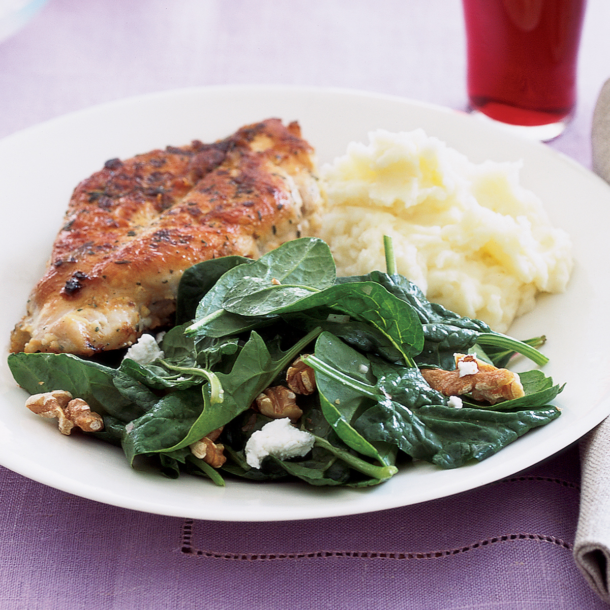 Panfried Chicken with Spinach Salad