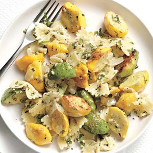 Pasta with Minted Pattypan Squash