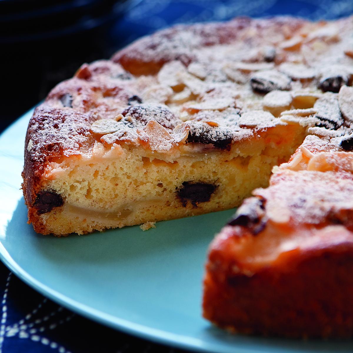 Pear-Almond Cake with Chocolate Chunks