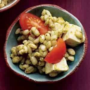 Pesto Barley with Mozzarella and Cherry Tomatoes
