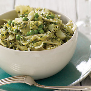 Pistachio-Tarragon Pesto Bowties with Peas and Potatoes