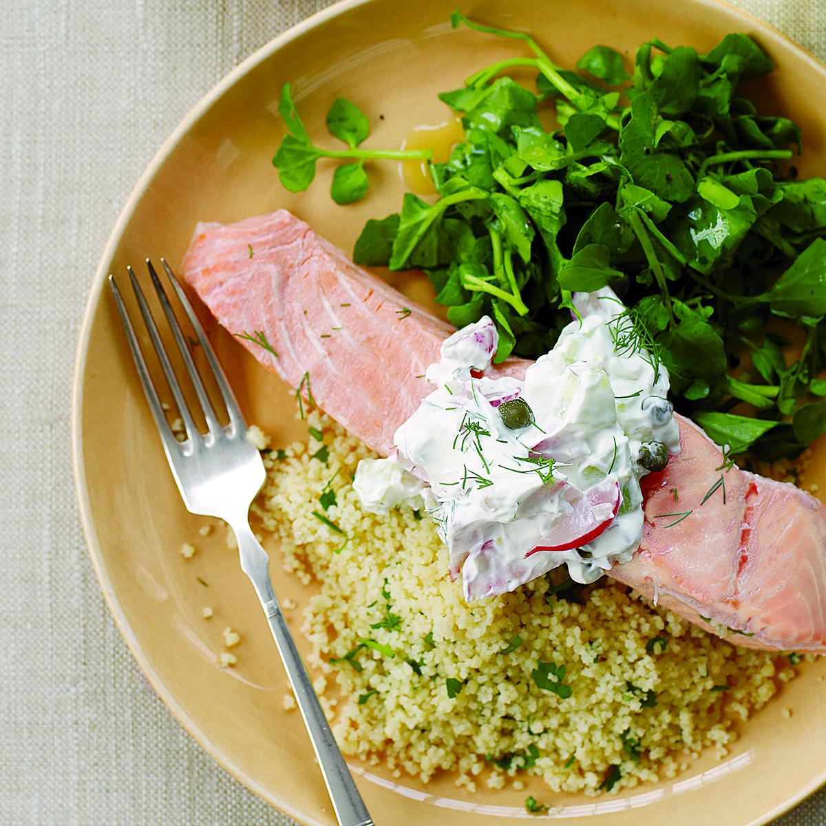 Poached Salmon with Parsley Couscous