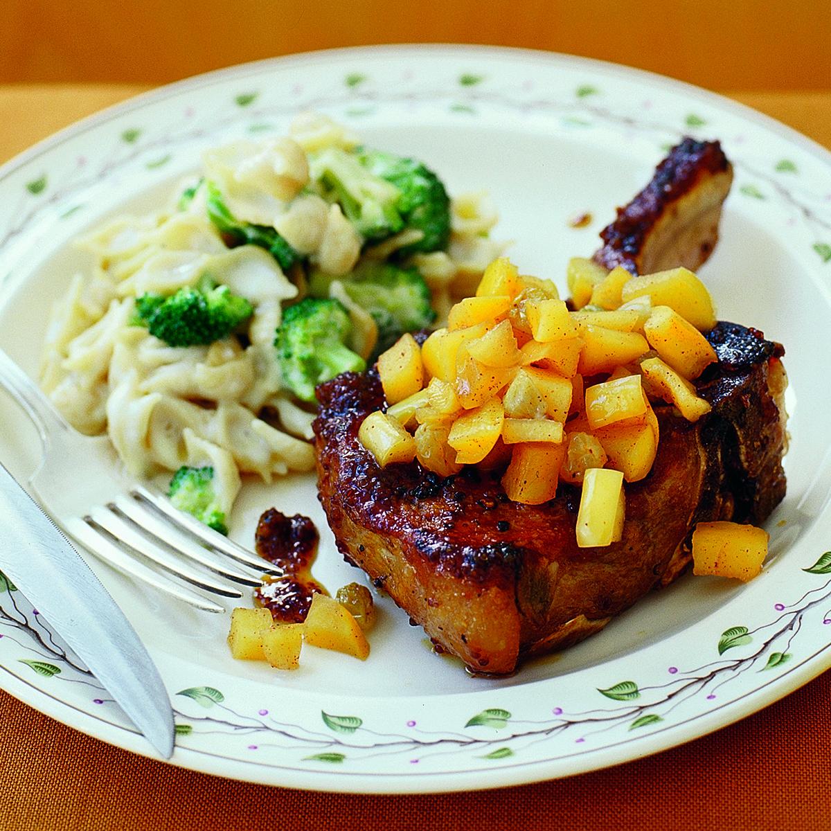 pork chops apple raisin sauce broccoli mac n cheddar